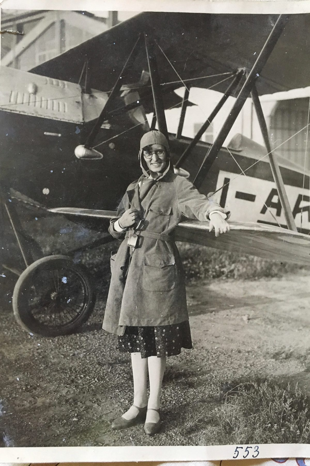 "Great-aunt Bice at her first flight Memories keep popping up. A black and white print featuring my Great-Aunt Bice on her first flight, July 13th 1930 (so says the caption on the back of the picture) at the airfield ""Gino Cima"". Exactly 13 years later, during WW2, the airfield was bombed on the night of July 13th 1943, by the RAF."