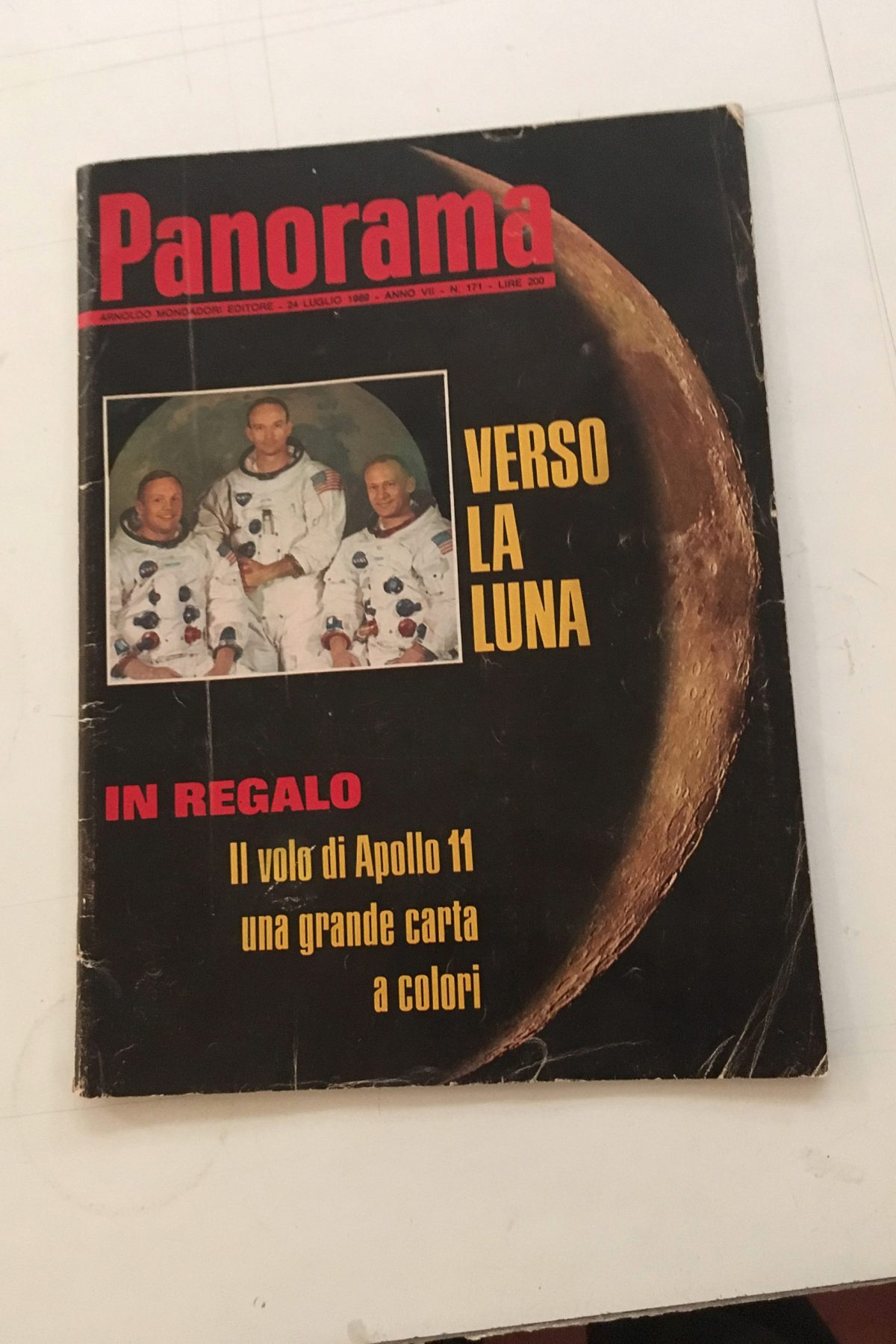 "On the Moon. Among tons of many other things, we chose to keep as an omen the July 1969 issue of ""Panorama"" celebrating the Apollo 11 mission to the Moon."